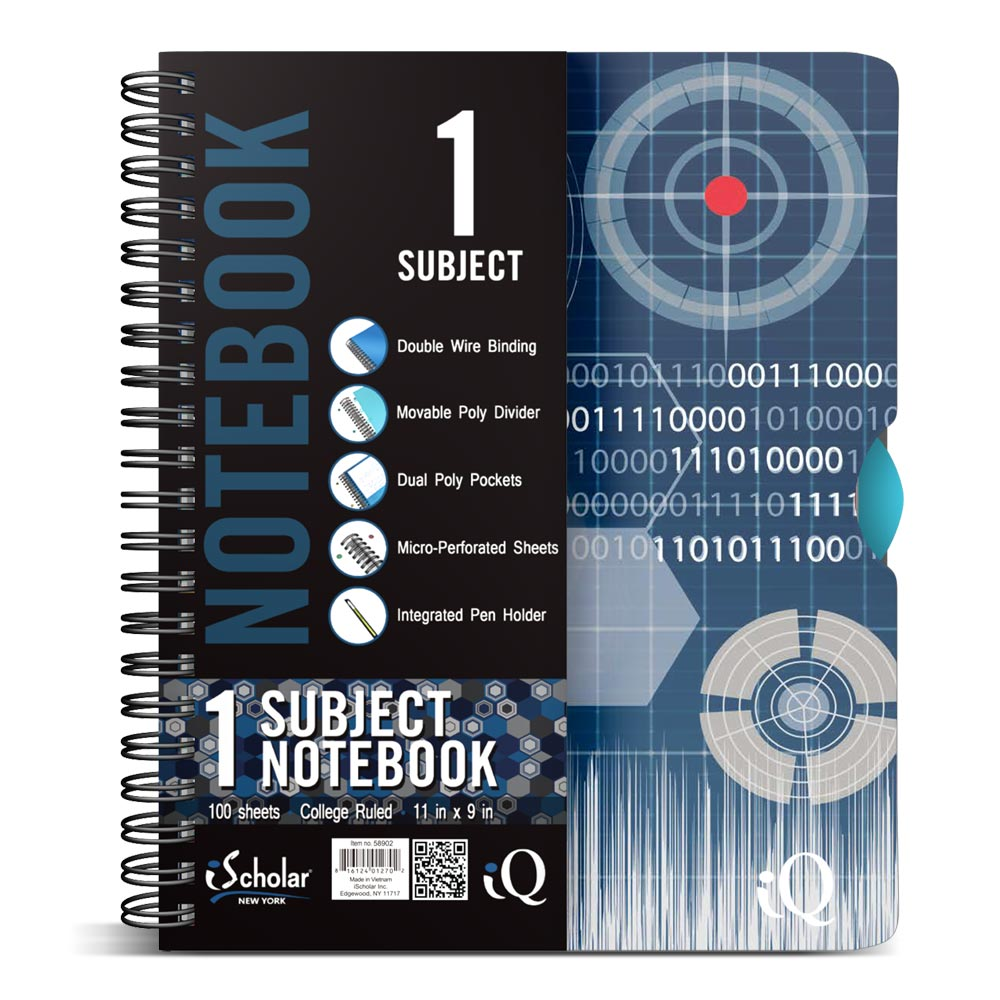 iQ 1 Subject Fashion Poly Notebook 11″ x 9″ Double Wire 58902 ...