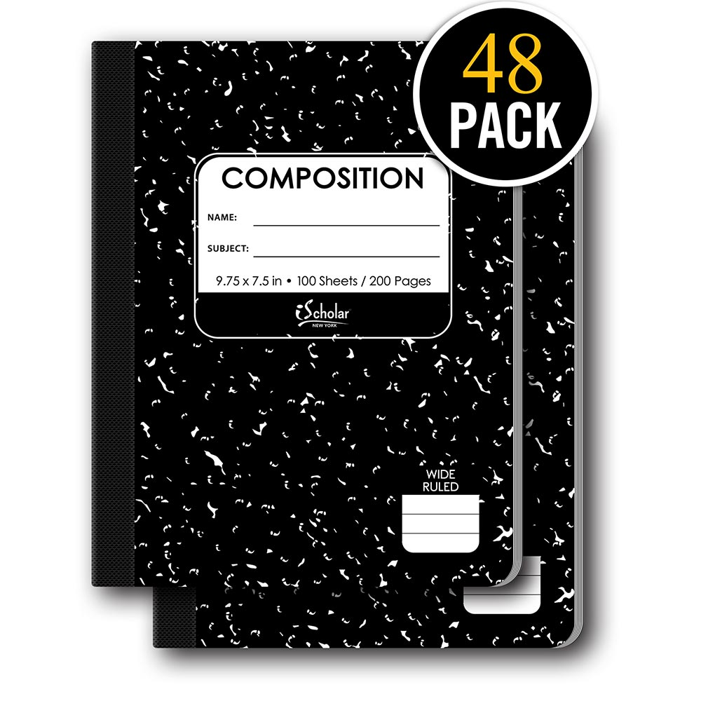 48 Pack Marble Composition Notebook Wide Ruled 10100